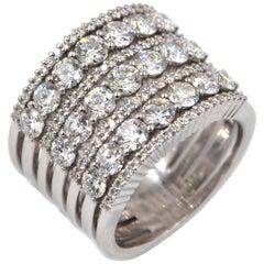18 Karat White Gold White Diamonds Garavelli Large Band Ring