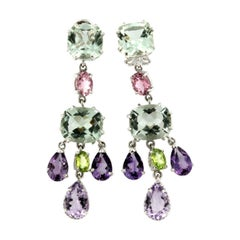 18kt White Gold with Amethyst Pink Tourmaline Green Amethyst Peridot Earrings