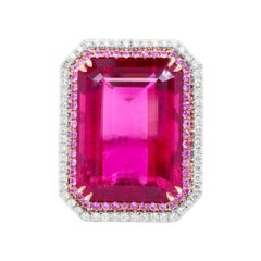 18kt White Gold with Pink Tourmaline Diamond Ring and Pink Sapphires