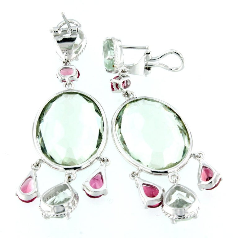 Oval Cut 18 Karat White Gold with Tourmaline and Prasiolite Earrings For Sale