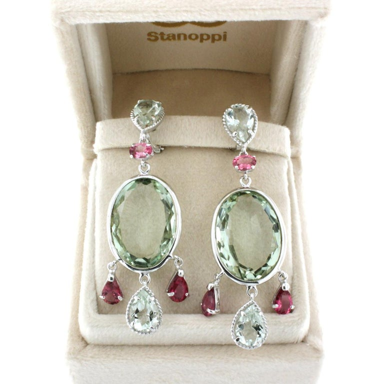 18 Karat White Gold with Tourmaline and Prasiolite Earrings In New Condition For Sale In  GALLARATE, IT