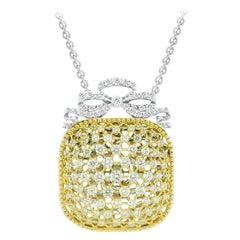 18Kt White & Yellow Gold Victorian Cushion Chain Pendant with white diamonds
