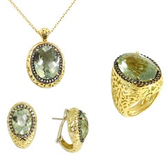 18Kt Gold Praseolhite and Brown Diamonds Garavelli Ring Earrings Pendant Set