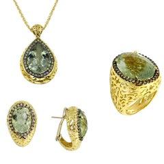 18Kt Gold Praseolhite and Brown Diamonds Garavelli Ring Earrings Pendant Set