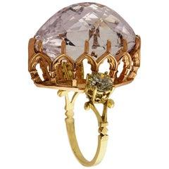 18kt Yellow and Rose Gold, 20ct Morganite, 1.71ct Diamond Ring