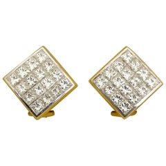 18KT Yellow and White Gold, 2.95Ct. Invisibly Set Princess Cut Diamond Earrings