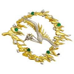 18KT Yellow and White Gold Bird Brooch with 1.20Ct. Emerald & 0.75Ct. Diamond