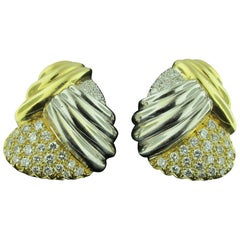 18 Karat Yellow and White Gold Crossover Pave Diamond Earrings