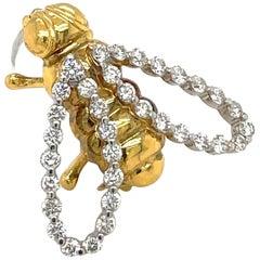 18 Karat Yellow and White Gold Diamond .74 Carat Bee Brooch