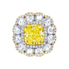 18KT Yellow and White Gold Ring with Cushion & Rose Cut Diamonds