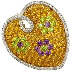 18KT Yellow and White Gold Semi-Precious Stone Puffed Heart Brooch with Diamonds