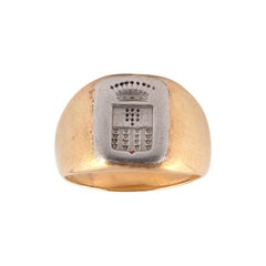 18kt Yellow and White Gold Signet Ring