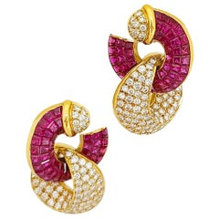 18KT. Yellow Gold, 14.27 Carat Invisibly Set Ruby & 2.96Ct. Diamond Hoop Earring