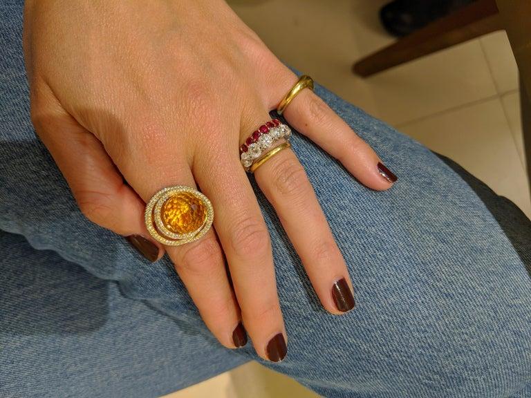 18 Karat Yellow Gold 15.97 Carat Citrine and Diamond Ring For Sale 4