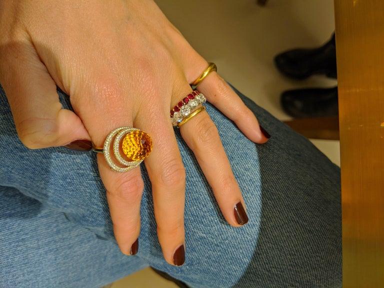 18 Karat Yellow Gold 15.97 Carat Citrine and Diamond Ring For Sale 3