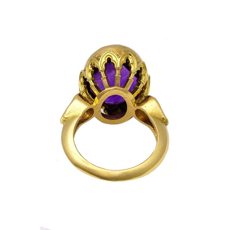 Rose Cut Vivid Splendour Ring in 18 Karat Yellow Gold, Amethyst and Diamonds For Sale