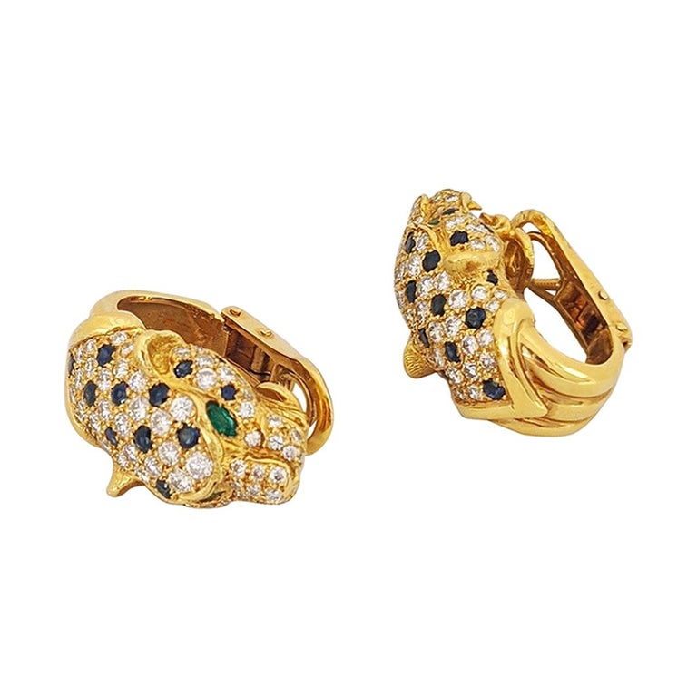 18KT Yellow Gold & 2.56Ct. Diamond Panther Earrings with Sapphires and Emeralds For Sale