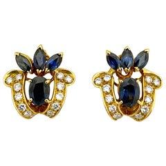 18 Karat Yellow Gold 3.80 Carat Sapphire and .76 Carat Diamond Earrings