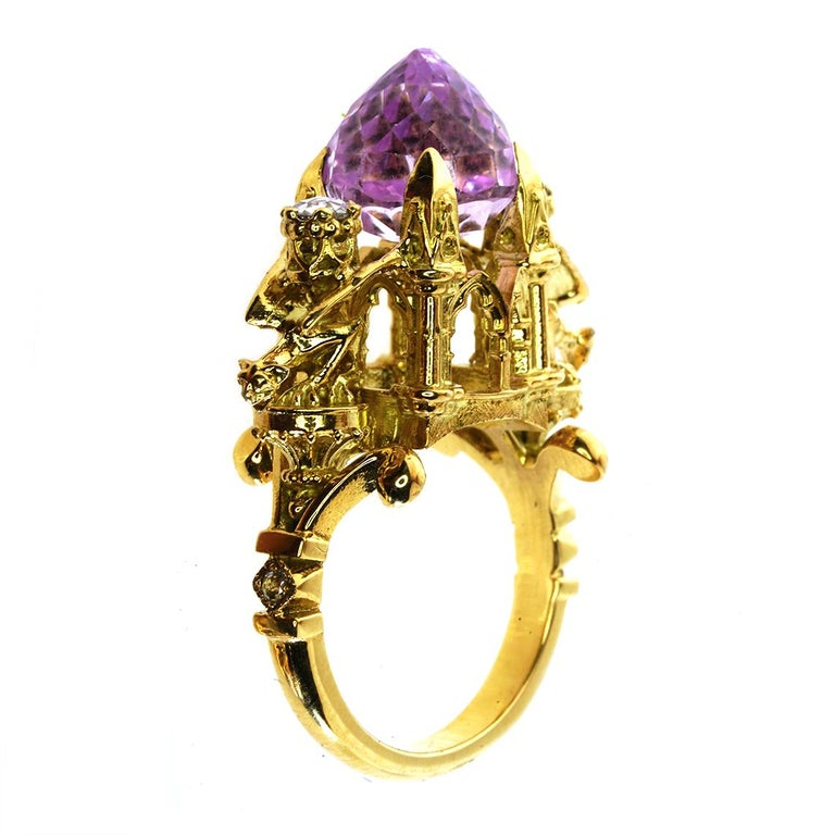 Contemporary Kunzite and Diamond Higher Divinity Cathedral Ring For Sale