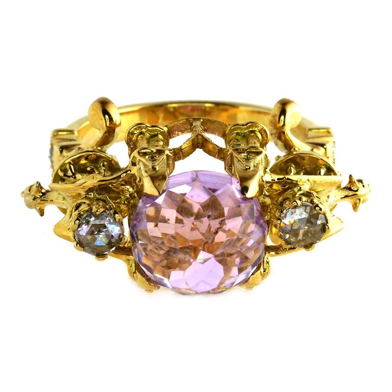Kunzite and Diamond Higher Divinity Cathedral Ring In New Condition For Sale In Fitzroy, AU