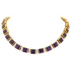 18KT Yellow Gold 61.19CT. Amethyst & 5.51Ct. Diamond Art Deco Inspired Necklace