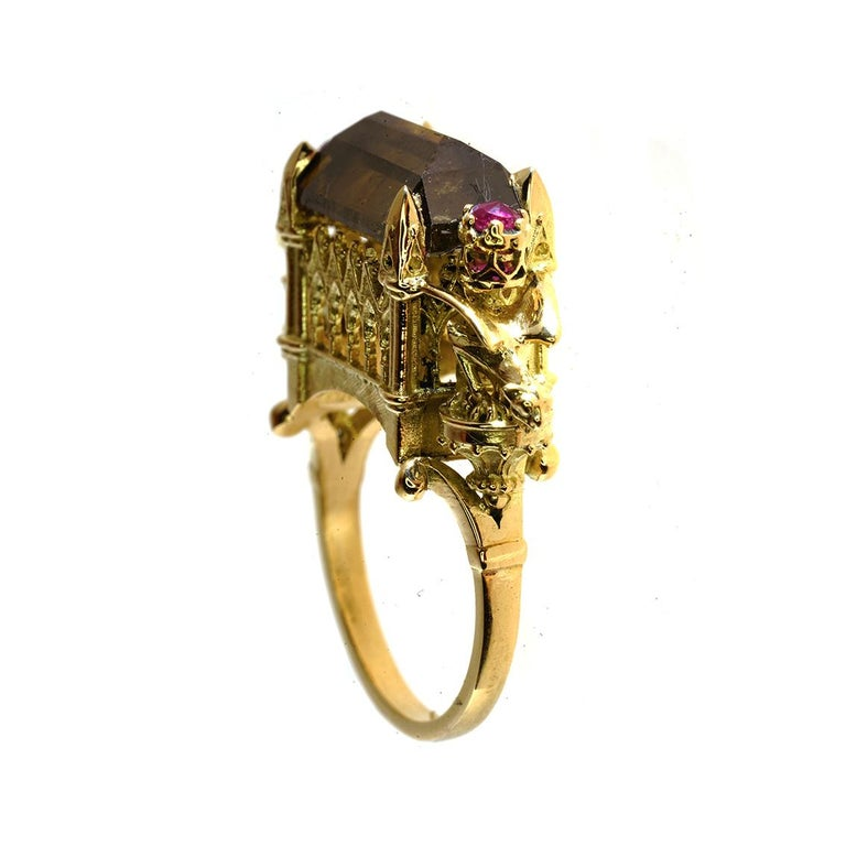 Gothic Revival Cognac Diamond and Ruby Ritual Cathedral Ring For Sale