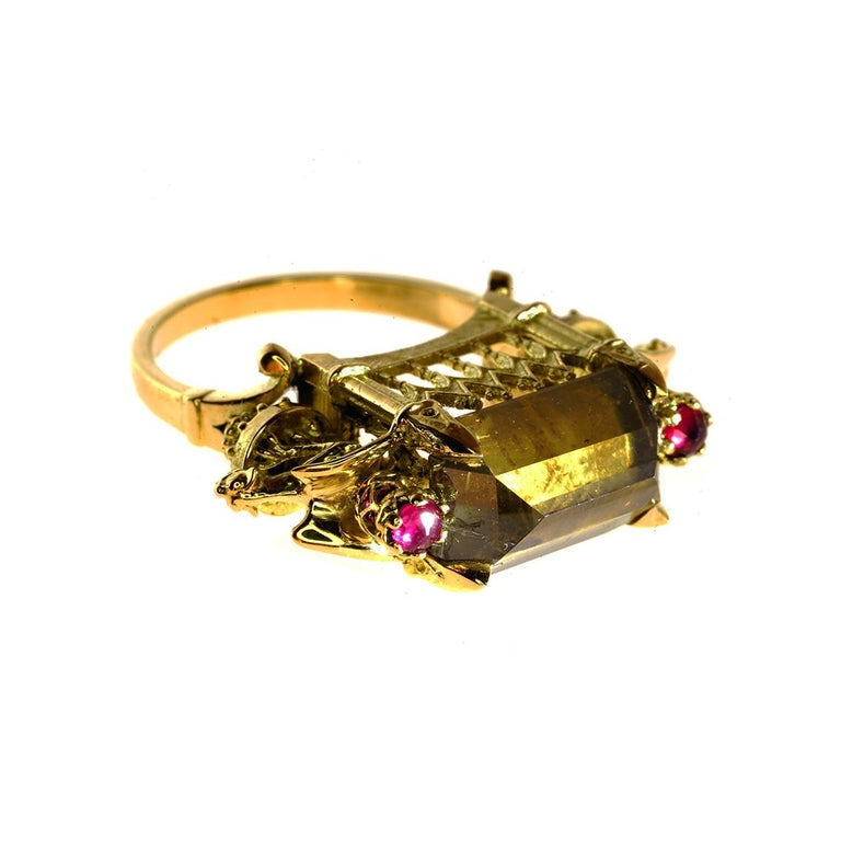 Emerald Cut Cognac Diamond and Ruby Ritual Cathedral Ring For Sale