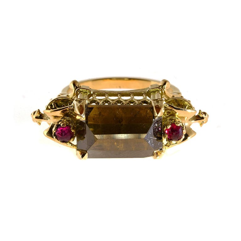 Cognac Diamond and Ruby Ritual Cathedral Ring In New Condition For Sale In Fitzroy, AU