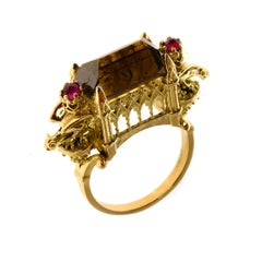 18kt Gold, 7.1ct Cognac Diamond, 0.2ct Ruby Gothic Cathedral Engagement Ring