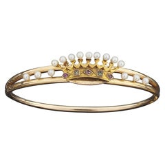 18kt Yellow Gold Amethyst Peridot and Pearl Bangle Crown Bracelet
