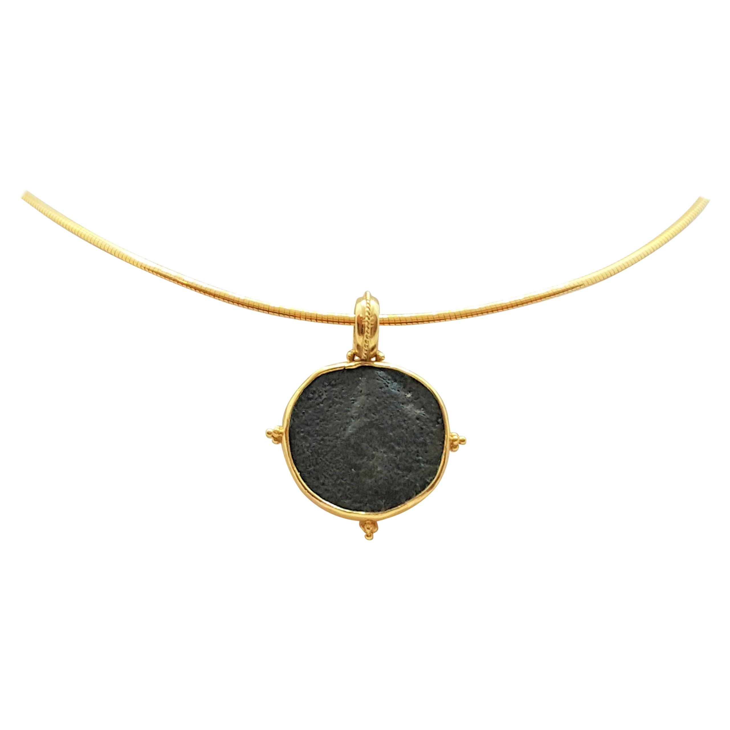18kt Yellow Gold Ancient Greek Coin Bezel Pendant, Very Good Condition