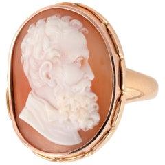 18 Karat Yellow Gold and Cameo Bearded Man's Ring