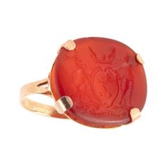 18kt Yellow Gold and Carnelian Signet Ring