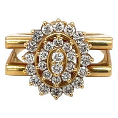 18kt Yellow Gold and Diamond 0.76ct Flower Ring