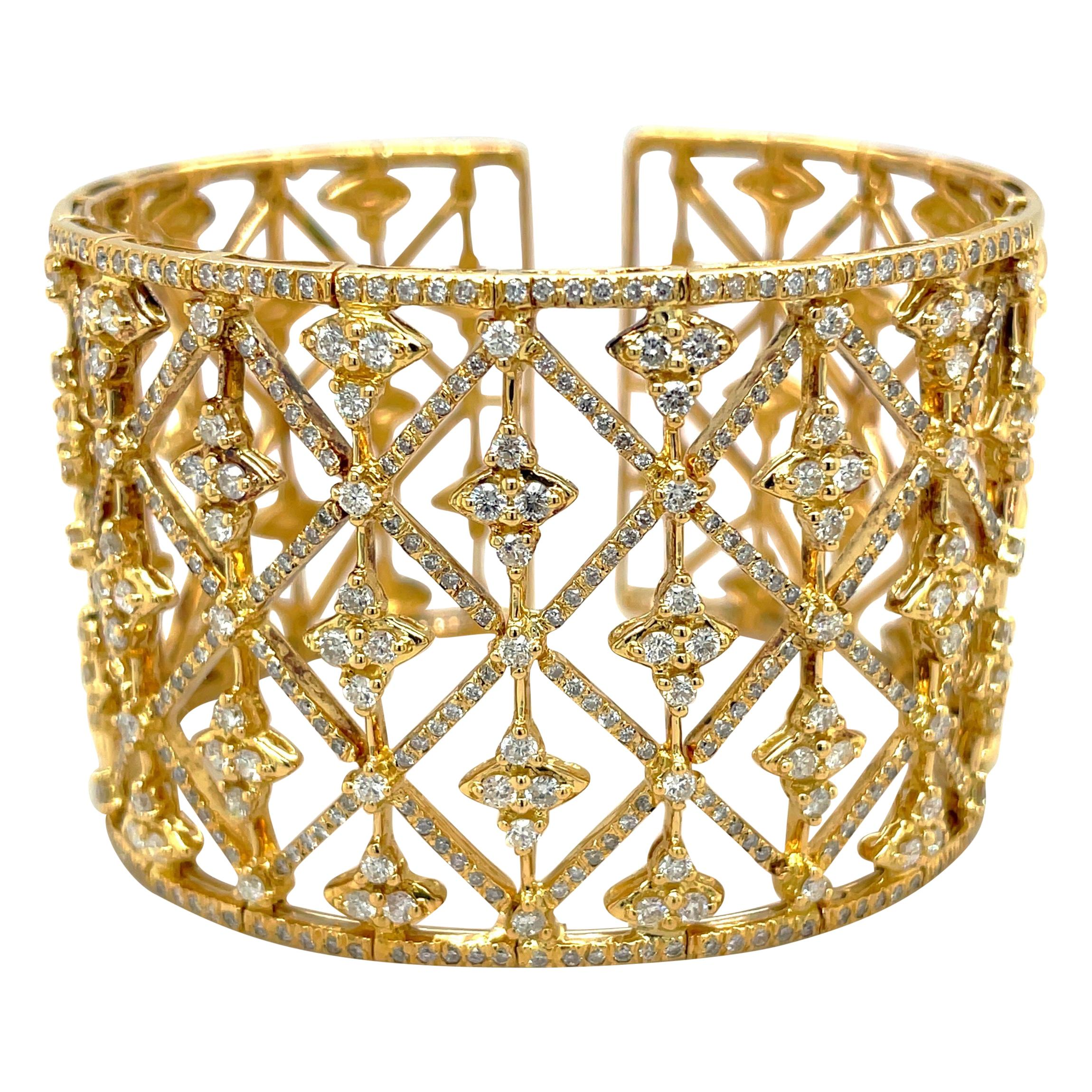18kt Yellow Gold and Diamond 5.85ct Wide Openwork Cuff Bracelet