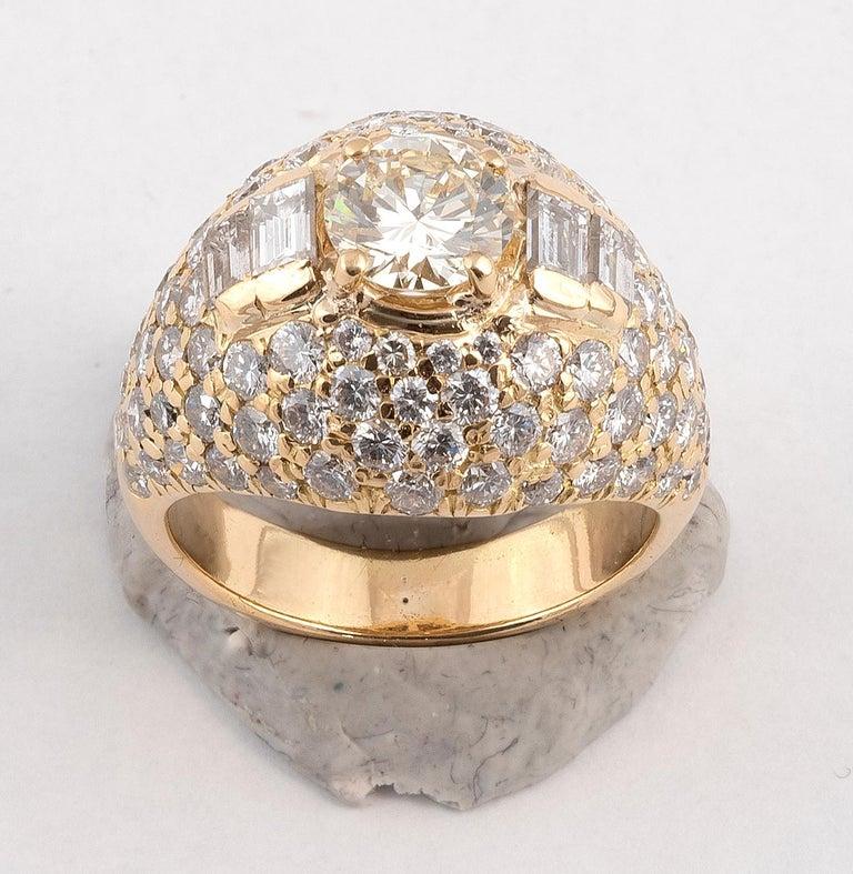 Retro 18 Karat Yellow Gold and Diamond Bombe Ring For Sale