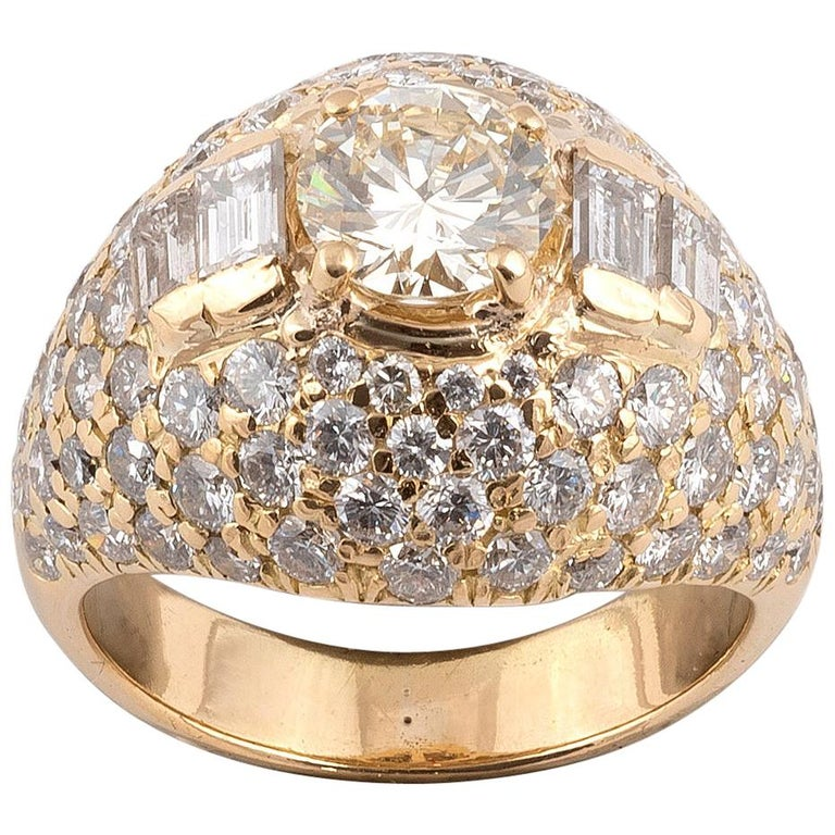 18 Karat Yellow Gold and Diamond Bombe Ring For Sale