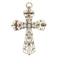 18 Karat Yellow Gold and Diamond Cross Brooch Pendant