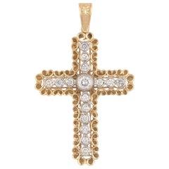 18 Karat Yellow Gold and Diamond Cross Pendant