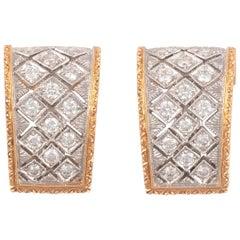 18 Karat Yellow Gold and Diamond Florentine Style Earrings