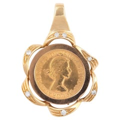 18 Karat Yellow Gold and Diamond Queen Coin Pendant