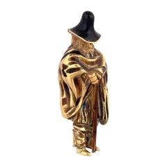 18 Karat Yellow Gold and Enamel Vintage Beggar Man Brooch