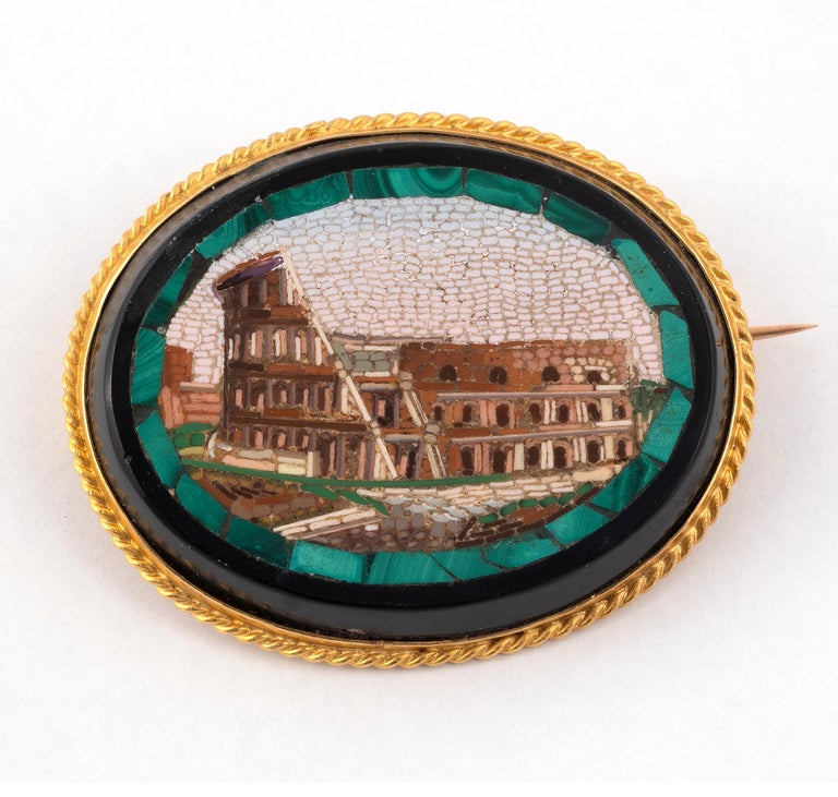 Napoleon III 18kt Yellow Gold and Micromosaic Brooch For Sale