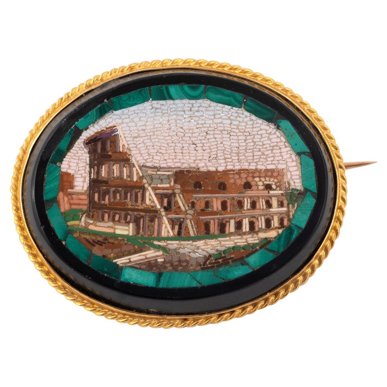 18kt Yellow Gold and Micromosaic Brooch For Sale