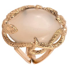 18kt Yellow Gold and Moonstone Snake Ring