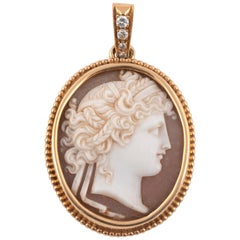 18kt Yellow Gold and Old Cut Diamond Cameo Pendant, 1850's