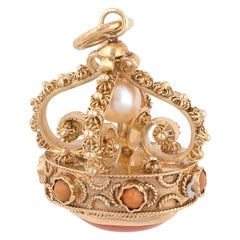 18 Karat Yellow Gold and Pearl Crown Charm Pendant, circa 1960
