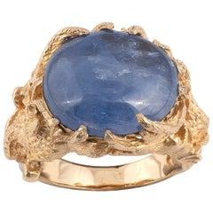 18 Karat Yellow Gold and Sapphire Dragon Ring
