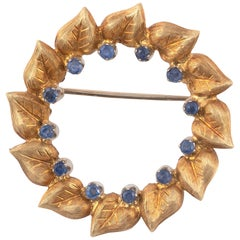 18kt Yellow Gold and Sapphire Leaf Brooch