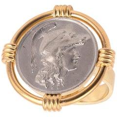 18 Karat Yellow Gold and Silver Minerva Head Ring
